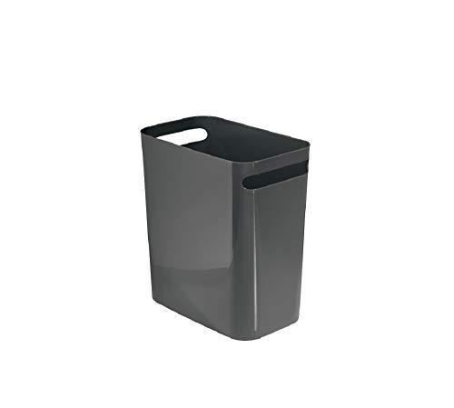 iDesign Mülleimer mit Griffen, kleiner 9,5 l Papierkorb aus Kunststoff, moderner Abfalleimer für Büro, Küche oder Bad, dunkelgrau