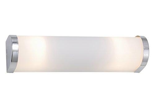 Briloner Leuchten 2109-028 Badlampe, Badleuchte, Spiegellampe, Wandlampe, Fassung: 2xE14 / max. 40W, weißes Glas, Endkappen in chrom, Material: Metall und Glas, IP23, 315x80x70mm (LxBxH)