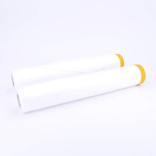 2 Rollen Abdeckfolie mit Klebeband (18 m X 270 cm) für Maler - Qualitativ hochwertige Malerplane/Masker mit Goldband, sehr gute elektrostatische Haftung und Mikronoppen für mehr Stabilität
