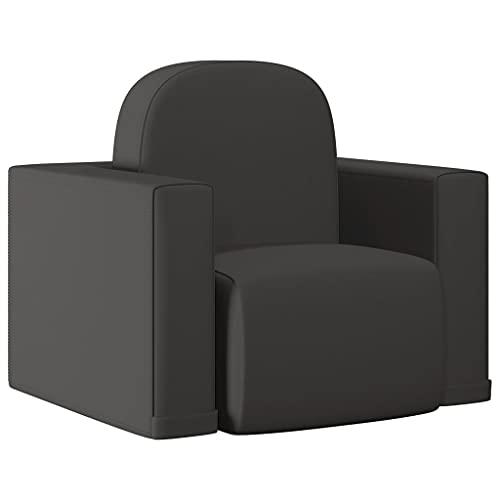 vidaXL Sofá Infantil 2 en 1 Niños Sillón Asiento Silla Salón Sala de Estar Dormitorio Habitación Muebles Mobiliario Cómodo de Cuero Sintético Negro