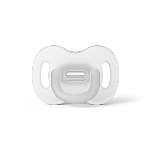 Suavinex Nuevo Chupete Para Dormir Todo Silicona, Para Bebés 6/18 meses, Chupete con Tetina Fisiológica SX Pro, Super Blandito y Flexible, Color Blanco