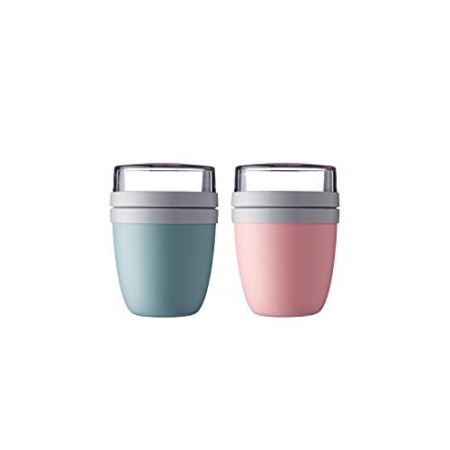 Mepal - 2 x Lunchpot Ellipse - Nordic green + Nordic pink - praktischer Müslibecher, Joghurtbecher, to go Becher - Geeignet für Tiefkühler, Mikrowelle und Spülmaschine