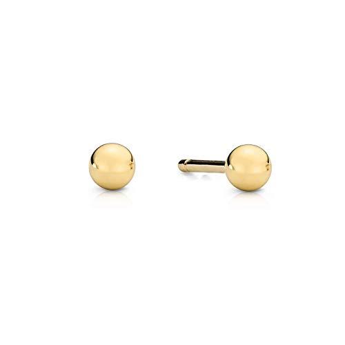 Pendientes de mujer Zlocisto 1 par de tachuelas en forma de bola con pousette Muestra de oro amarillo 333 (oro de 8 quilates) o 585 Joyas de oro atemporales y elegantes en una caja de alta calidad