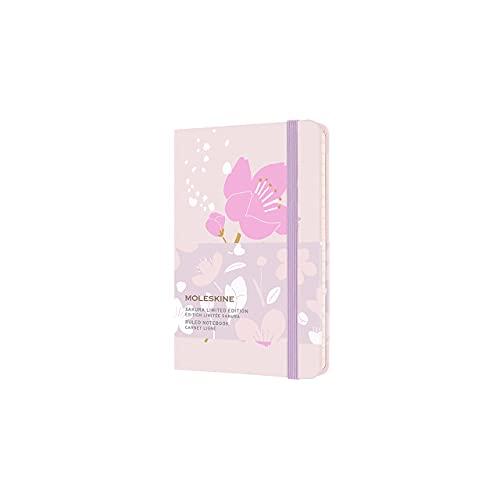 Moleskine Taccuino Sakura con Fiori di Ciliegio - Notebook, Pagine a Righe e Copertina Rigida in Tessuto, Pocket 9 x 14 cm, 192 Pagine, Rosa