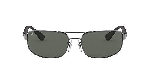 Ray-Ban Unisex Rb 3445 Sonnenbrille, Mehrfarbig (Gestell: Gunmetal/Schwarz, Gläser: Grün Klassisch 004), X-Large (Herstellergröße: 61)