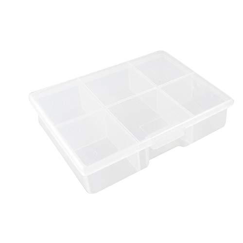 X-DREE Caja de almacenamiento de componentes electrónicos de plástico de 5 compartimentos caja blanca transparente (Plastique 5 compartiments Electronic Component Boîte de rangement Case Clear White