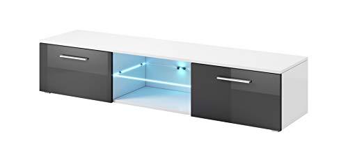 E-Com - TV-Lowboard Fernsehschrank Fernsehtisch Samuel Mit Blauer LED - 150cm - Weiss/Grau