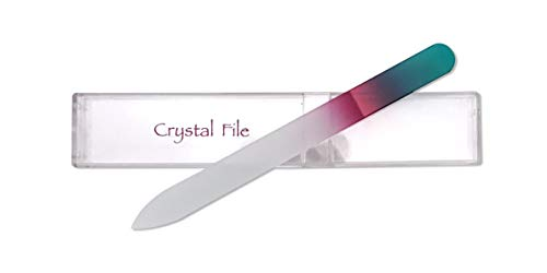 Crystal Glass Nail File, 5.5 Inches, Free Carrying Case from Sassella