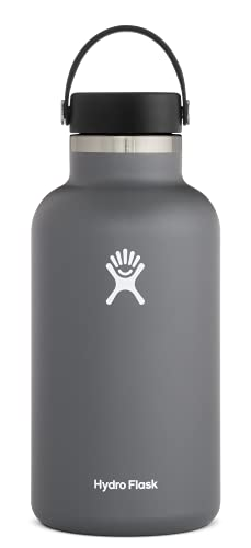 Hydro Flask Water Bottle - Stainless Steel & Vacuum Insulated - Wide Mouth 2.0 with Leak Proof Flex Cap - 64 oz, Stone