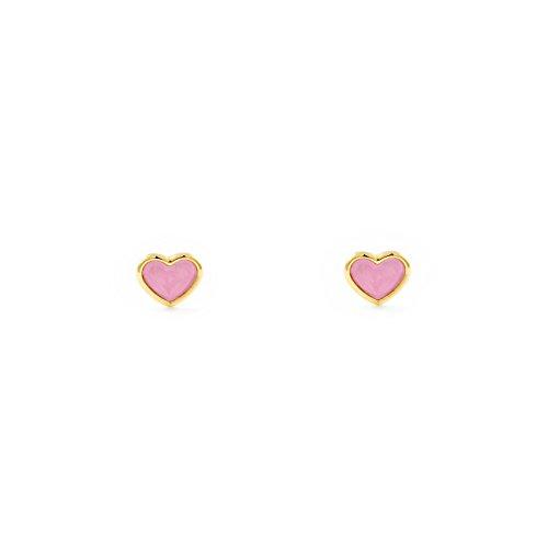 Pendientes Oro Bebe o Niña Corazón esmalte rosa (9kts)