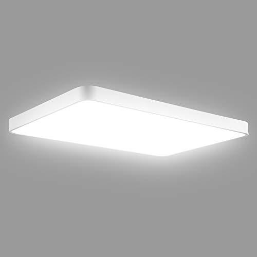 DYBITTS - Lámpara de techo cuadrada y ultrafina, regulable, con mando a distancia, redonda, para cuarto de baño, salón, pasillo, cocina, balcón (72 W, luz blanca fría)