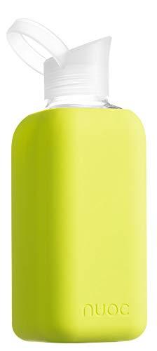 NUOC - 800ml. Botella de Agua Reutilizable de Vidrio/Cristal de borosilicato, Ligera, sin BPA y sin Ftalatos y 100% reciclable Bebidas frías y Calientes: Agua, tés, zumos, Smoothies