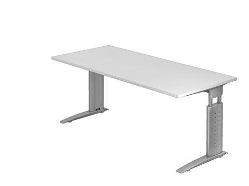 DR-Büro Schreibtisch - Metallgestell Silber - mechanische Höheneinstellung - Verschiedene Tischgrößen - 7 Farbtöne, Farbe:Weiss, Größe Möbel:180x80