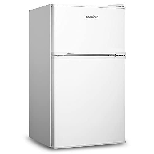 COMFEE' 87 Litre Fridge Freezer RCT87WH1(E) Low Frost Fridge Double Door Fridge, Reversible Door, Adjustable Legs for Home/Apartment/Basement – White