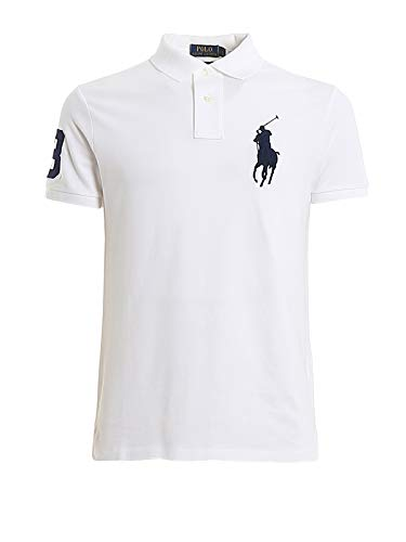 Ralph Lauren Herren Piqué-Polo im Custom-Slim-Fit Weiß M