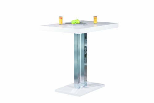 Inter Link Table de bar panneaux de particules blanc brillant et métal chromé
