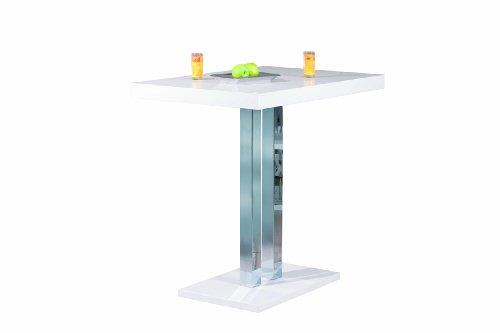 Inter Link Bartisch Stehtisch Küchentheke Säulentisch MDF Weiss Hochglanz Metall verchromt BxHxT: 120x110x80 cm