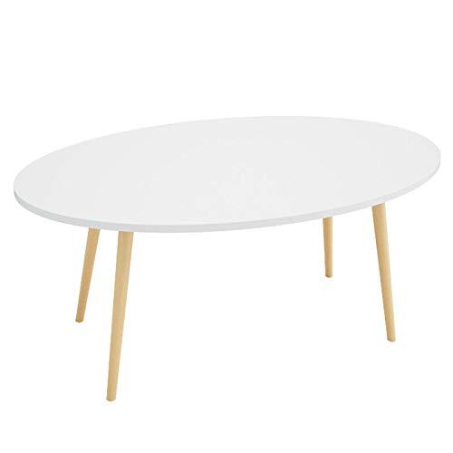 Family History Ovaler Couchtisch, Haushalt Wohnzimmer Holz Sofa Tisch Dekoration Beistelltisch Ecktisch Kleiner Esstisch Freizeit Lesetisch,White,100CM