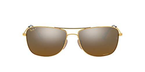 Ray-Ban RB3543 Óculos de sol aviador espelhado Chromance espelhado, espelho de bronze dourado/polarizado, 59 mm