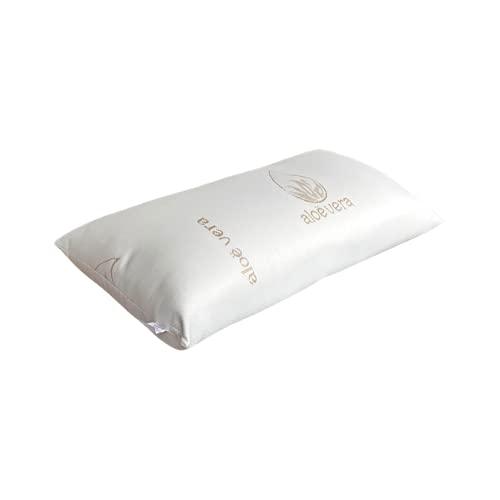 Loubren Pillow-01 Almohada Aloe Vera 70cm, Fibra Hueca Siliconada + Funda Poliéster con Cremallera, Color Blanco