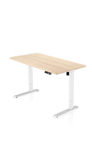 Preisvergleich Produktbild - AGIL - Elektrisch Höhenverstellbarer Schreibtisch - Weißes STANDARD Gestell & Ahornfarbene Tischplatte - stufenlos - Memory Funktion - Ergonomischer Schreibtisch für Kinder und Erwachsene
