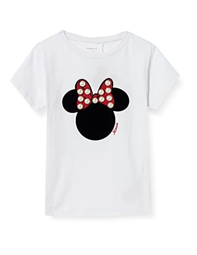 NAME IT Mädchen NKFMINNIE FINA SS TOP WDI T-Shirt, Bright White, 134-140