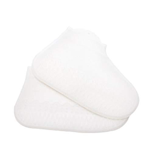 Yue668 - Botas de lluvia de silicona para disfraz antilluvia transparente, botas antideslizantes fijadas a la casa gruesa (L, blanco)