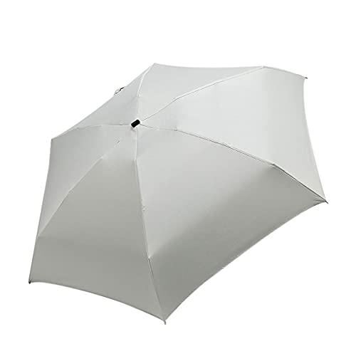Paraguas Pequeño Paraguas Plegable Lluvia Mujer Regalos Mini Bolsillo Parasol Chicas Anti-UV Impermeable Viajes portátil umberller (Color : Beige)