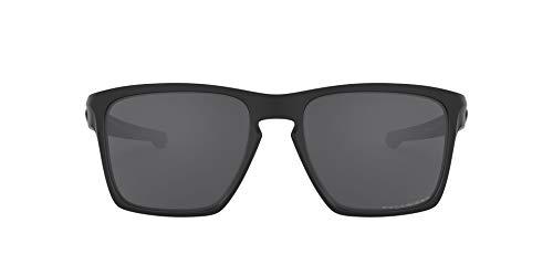 Oakley Men's OO9341 Sliver XL Rectangular Sunglasses, Matte Black/Grey Polarized, 57 mm
