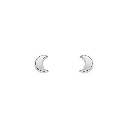 Pendientes Bebe o Niña Oro Blanco media luna lisa (9kts)