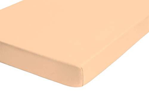 #17 biberna Jersey-Stretch Spannbettlaken, Spannbetttuch, Bettlaken, 140×200 – 160×200 cm, Gold - 2
