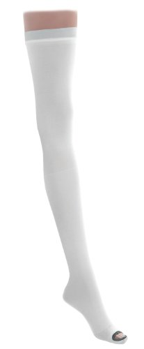 Medline MDS160844 EMS Latex Free Thigh Length Anti-Embolism Stocking, Medium Regular, White (Pack of 6)