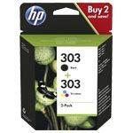 HP 303Combo Pack–2Unidades)–Negro, farbstoffbasiert Tricolor–Original–Cartucho de tinta–para Envy Photo 6220, Photo 6230, Photo 7134