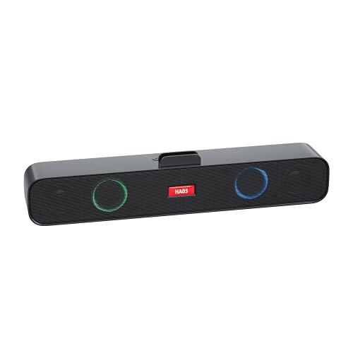 WUMN Tarjeta U Disk Strip Computer Speaker,Barras de sonido de audio para el hogar, Barras de sonido para televisión, Altavoces Bluetooth con subwoofer,Altavoz RGB con luces LED