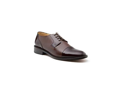 Zapato para Hombre Clásico En Piel Suela De Cuero Duque (30, Caoba)