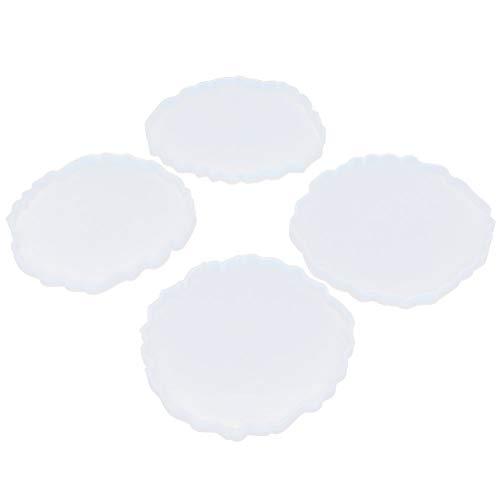 cloudbox Moldes para Posavasos DIY-4 Piezas Moldes para Posavasos Juego de combinación de Silicona DIY Moldes de Nube de Espejo Ondulado de Cristal epoxi Hecho a Mano