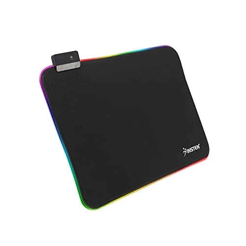 Insten Gaming RGB LED Keyboard & Mouse Pad Medium Mat, Anti-Slip Rubber Base Desk Light up Mousepad, Black 13.78x9.8 inch