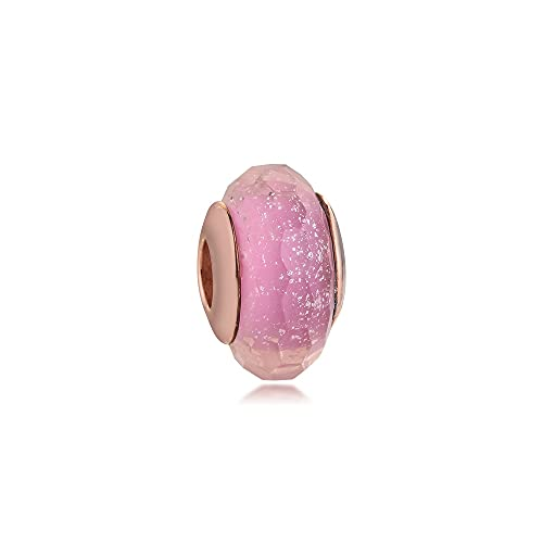 LIIHVYI Pandora Charms para Mujeres Cuentas Plata De Ley 925 Anillo Shim Rosa Joyas De Cristal De Murano Compatible con Pulseras Europeos Collars