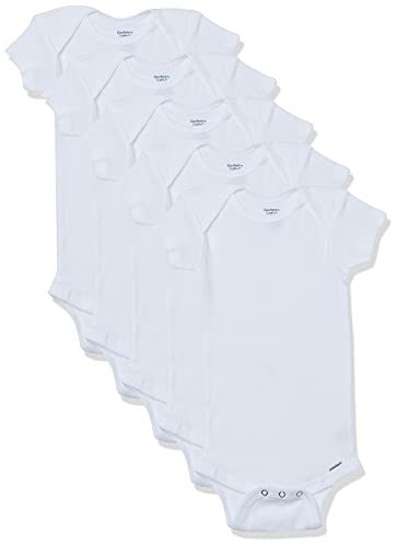 Gerber Baby 5-pack Or 15 Multi Size Organic Short Sleeve Onesies Bodysuits infant and toddler bodysuits, White 5 Pack, 6-9 Months US