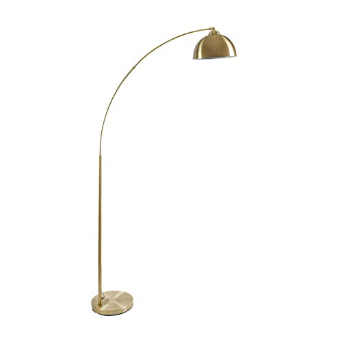 "Archiology Arc Floor Lamp, 79"" Height Gold Brass Floor Lamp Curved, and Metal Dome Shade with Glossy White Interior Perfect for Living Room Reading Bedroom Home Office"