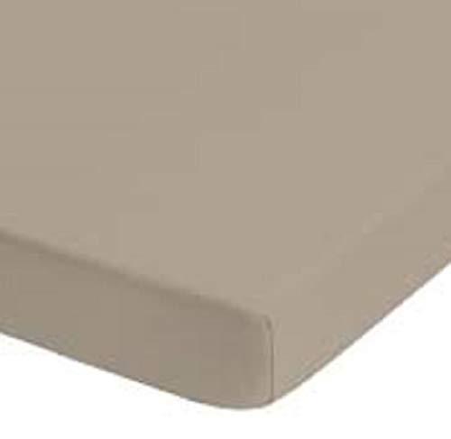 Alpes Blanc Drap Housse Jersey Extensible 180x200/200x200 - Drap Housse Jersey Bonnet 30cm (Maxi Bonnets 45cm, Macchiato/Coffee)