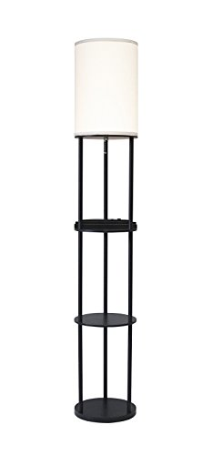 Adesso 3116-01 USB & AC Charging Station Floor Night Lamp with 2 Storage Shelves and Device Holders Black, 63u0022