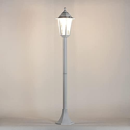 Lámpara de jardín rústica lámpara de camino blanca E27 IP44 lámpara de pie para exterior lámpara de pie lámpara de patio terraza