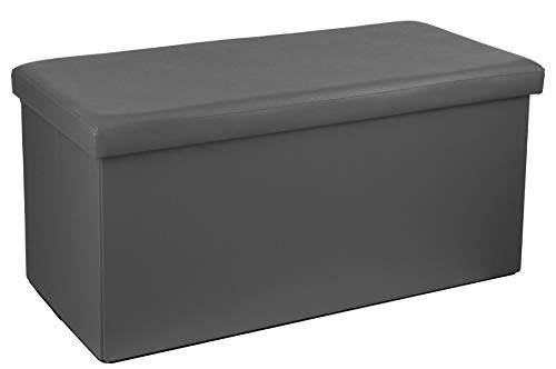 PEGANE Pouf Pliant Double en PVC, Coloris Gris - Dim : L.76,6 x l.38 x H.37,5 cm