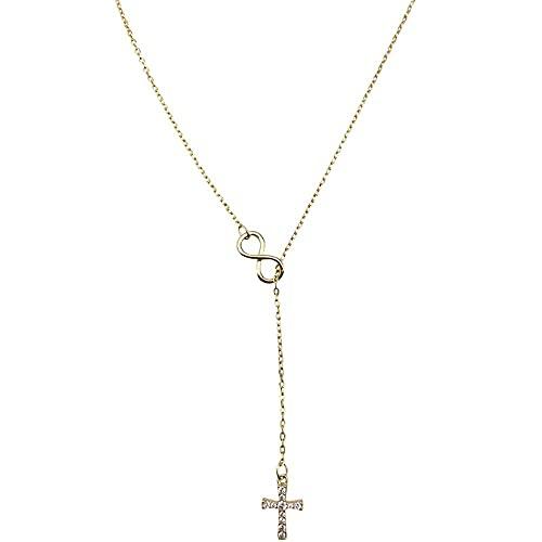 collar Mujer Collar de cruz de plata esterlina S925 con colgante de cadena de clavícula de diamantes