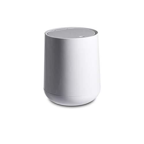 XZJJZ Tipo de prensado Tipo de Basura Redondo Cubierta de plástico Flip Cover Bins Mini Desktop Sundries Dustbin Herramientas de Limpieza de los hogares (Color : B)