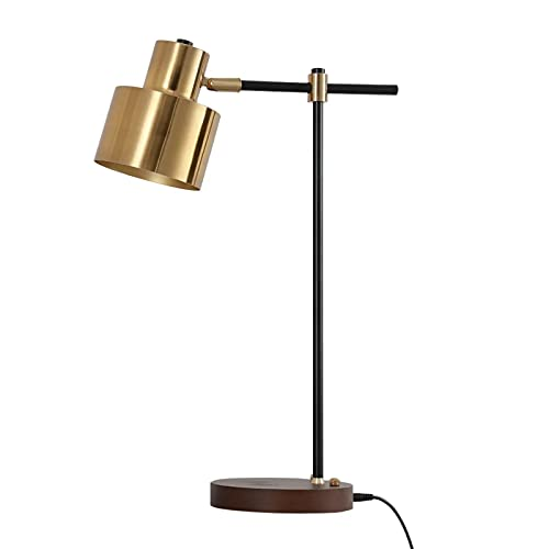 Modern Table Lamp with Wireless Charger USB, GOEYA 1-Light Desktop Touch Lamp for Living Room Bedroom, Black & Gold