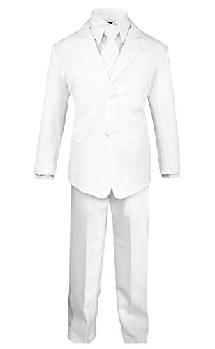 Luca Gabriel Toddler Boys' 5 Piece Classic Fit No Tail Formal White Dress Suit Set with Tie and Vest - Size 7