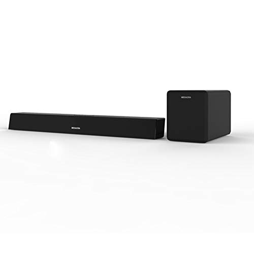 Sound Bar with subwoofer, MEGACRA 2.1 Channel 100 Watt Home Theater Sound Bars (IR Learning Remote, 110dB, Wired and Wireless Connection, Cable Include, Bass Adjustable)