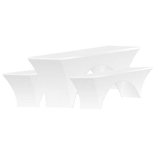3tlg. Hussen für Bierzeltgarnitur, Tischhusse 220x50x70cm mit 2 Stück Bierbankhusse 220x25x50cm, Tischcover Tischdecke Bank Hussen für Hochzeit Partys